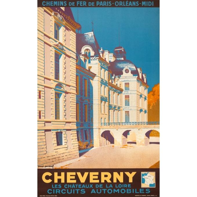 Affiche ancienne voyage - René Roussel - 1935 - Cheverny - 100 par 62.5 cm