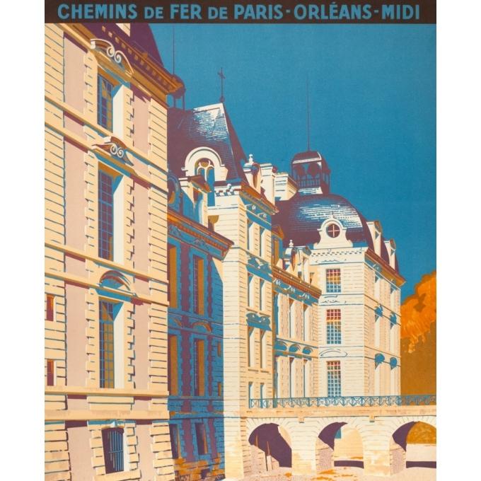 Affiche ancienne voyage - René Roussel - 1935 - Cheverny - 100 par 62.5 cm - Vue 2