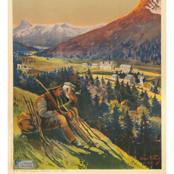 Vintage travel poster - Henri Tolart - 1909 - Le Lioran-Auvergne - 40.7 by 28.9 inches - View 3
