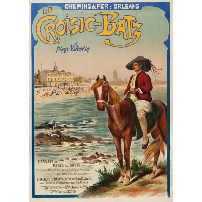 Affiche ancienne de voyage - Gustave Fraipont - Circa 1900 - Le Croisic-Batz-Plage Valentin - 105 par 75 cm