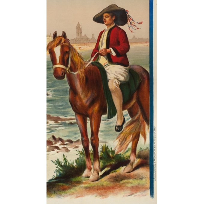 Affiche ancienne de voyage - Gustave Fraipont - Circa 1900 - Le Croisic-Batz-Plage Valentin - 105 par 75 cm - Vue 3