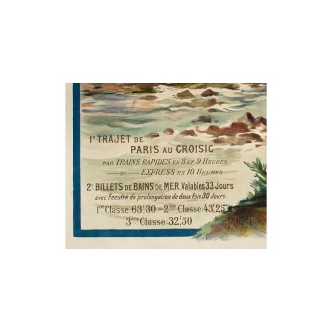 Affiche ancienne de voyage - Gustave Fraipont - Circa 1900 - Le Croisic-Batz-Plage Valentin - 105 par 75 cm - Vue 4