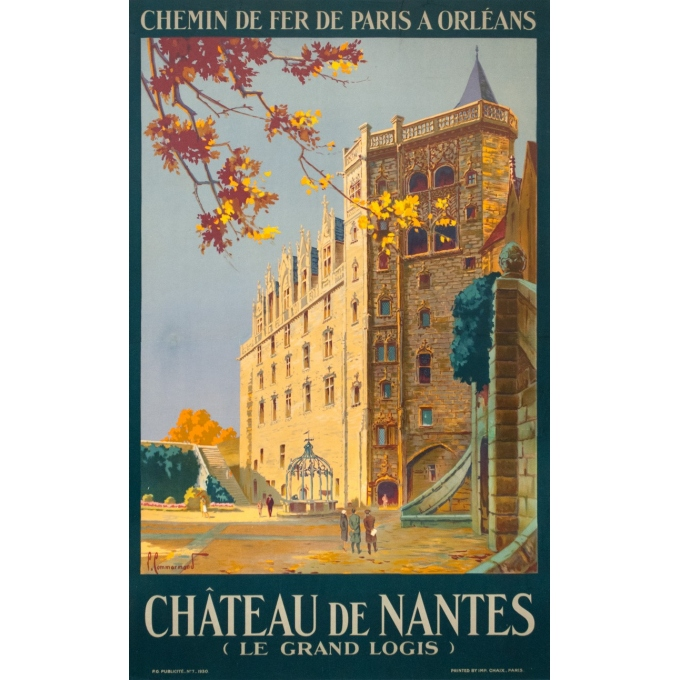 Vintage travel poster - Pierre Commarmont - 1930 - château de nantes - 39.4 by 24.6 inches