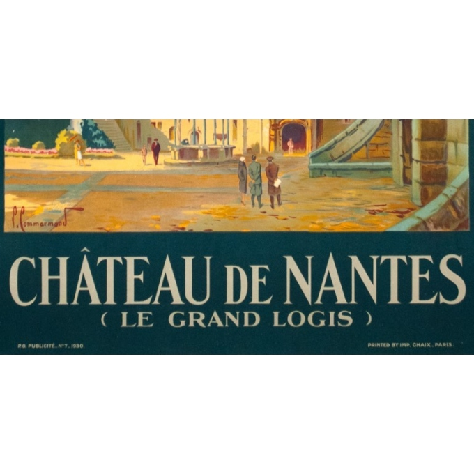 Vintage travel poster - Pierre Commarmont - 1930 - château de nantes - 39.4 by 24.6 inches - view 4
