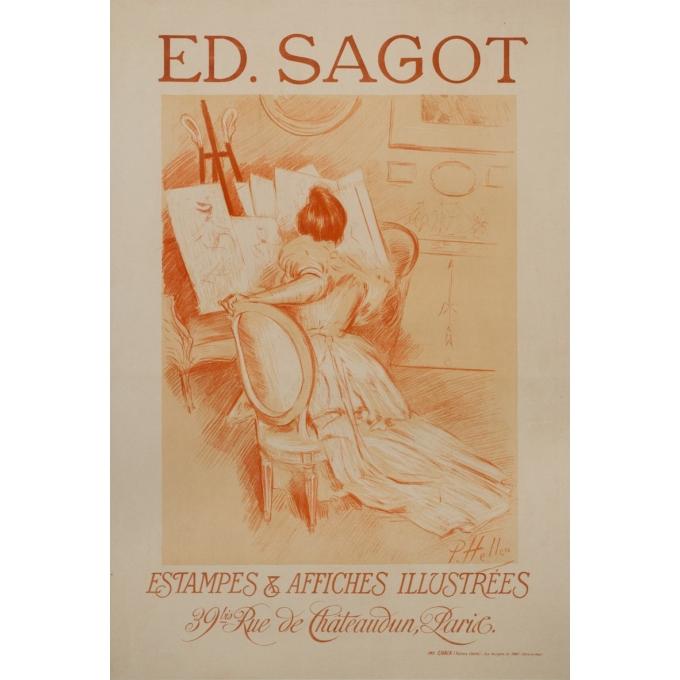Affiche ancienne de publicité - P.Paul Helleu - 1900 - Edition sagot - Estampes et affiches illustrées - 103.5 par 71 cm
