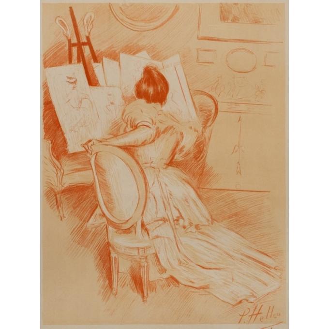 Affiche ancienne de publicité - P.Paul Helleu - 1900 - Edition sagot - Estampes et affiches illustrées - 103.5 par 71 cm - vue 3