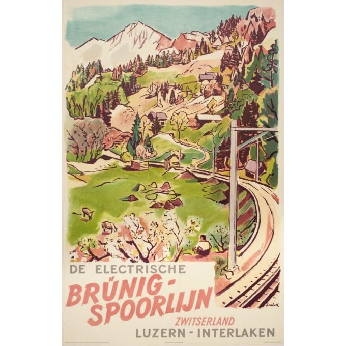 Affiche ancienne de voyage - Surbek - 1950 - Lucerne-Interlaken-Suisse - 100 par 64.5 cm