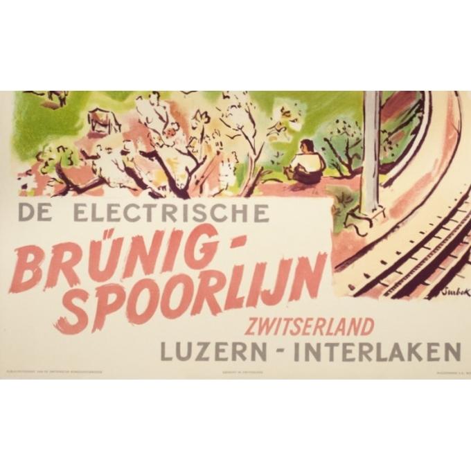 Affiche ancienne de voyage - Surbek - 1950 - Lucerne-Interlaken-Suisse - 100 par 64.5 cm - Vue 2