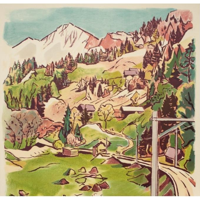 Affiche ancienne de voyage - Surbek - 1950 - Lucerne-Interlaken-Suisse - 100 par 64.5 cm - Vue 3