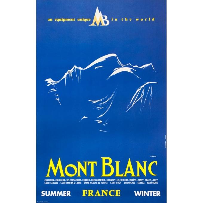 Affiche ancienne de voyage - Y.Laty - Ca 1960 - Mont Blanc - 97.5 par 63 cm