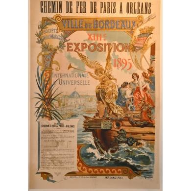 Affiche ancienne originale Exposition Bordeaux 1895
