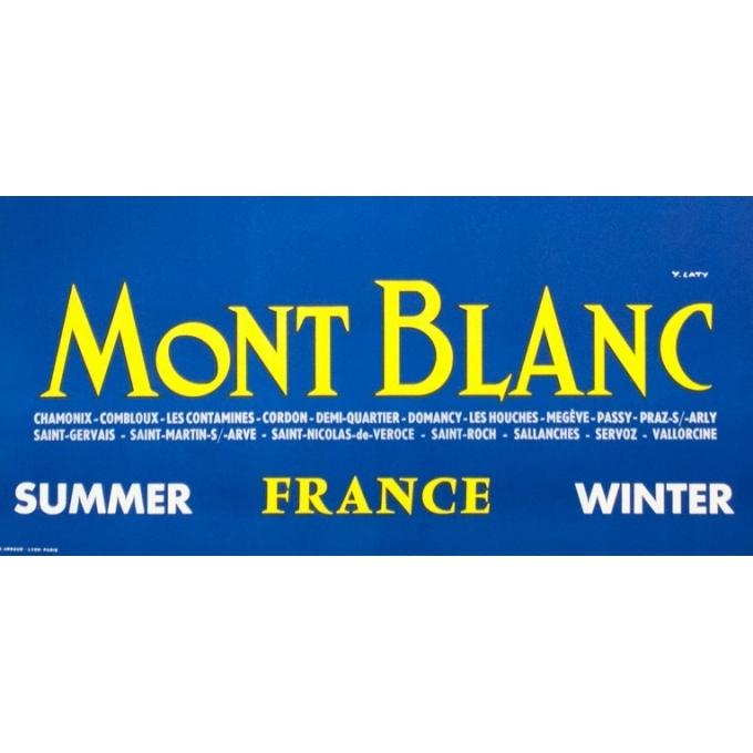 Affiche ancienne de voyage - Y.Laty - Ca 1960 - Mont Blanc - 97.5 par 63 cm - vue 4