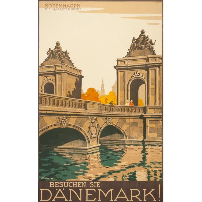 Affiche ancienne de voyage - Danemark-Kopenhaguen - 98 par 61 cm