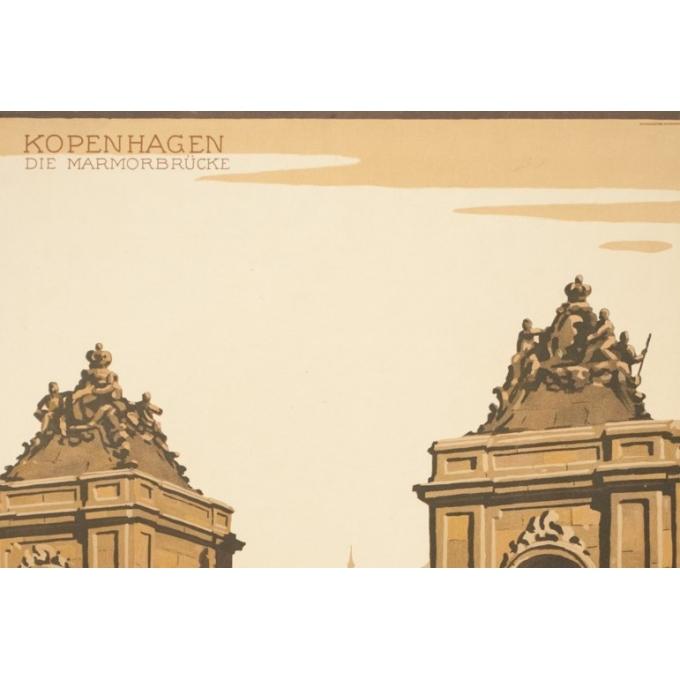 Vintage travel poster -Danemark-Kopenhaguen - 38.6 by 24 inches - Vue 2