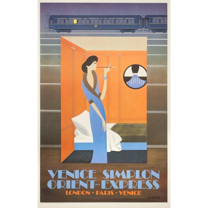 Affiche ancienne de voyage - Pierre Fix masseau  - 1980 - Venise-simplon-Orient express- - 98.5 par 62.5 cm