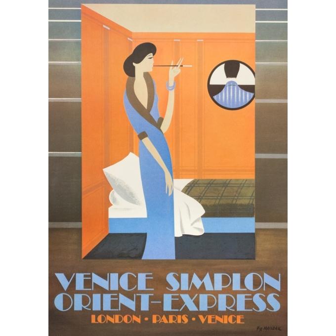 Vintage travel poster - Pierre Fix masseau  - 1980 - Venise-simplon-Orient express - 38.8 by 24.6 inches - View 3