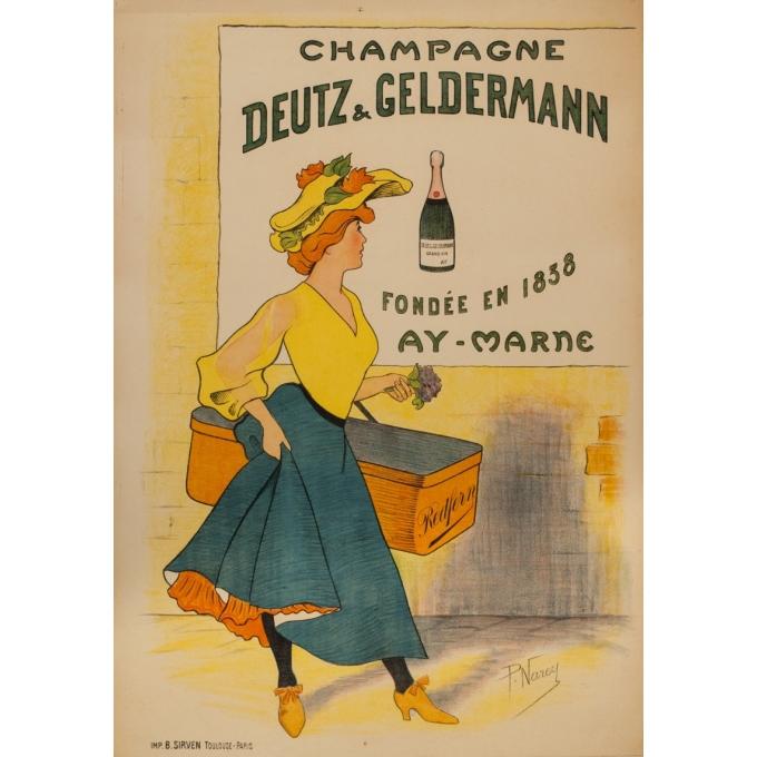 Affiche ancienne de publicité - P.Narey - 1900 - Champagne Deutz & Geldermann - 106 par 75 cm
