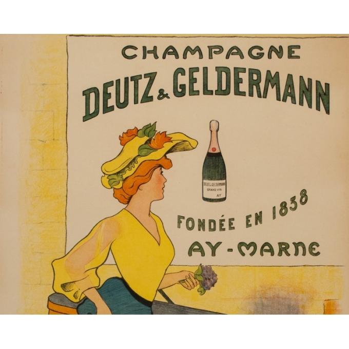 Affiche ancienne de publicité - P.Narey - 1900 - Champagne Deutz & Geldermann - 106 par 75 cm - Vue 2