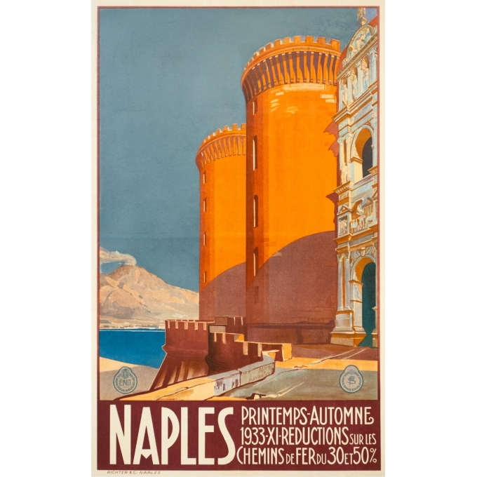 Vintage travel poster - Hugo d'Alési - 1900 - Italy Naples - 39.8 by 29.9 inches