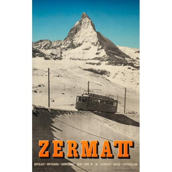 Affiche ancienne de voyage - Anonyme  - 1953 - Zermatt - 102 par 64 cm