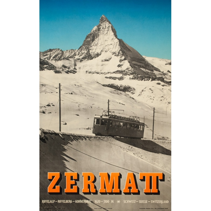 Vintage travel poster - Anonyme  - 1953 - Zermatt - 40.2 by 25.2 inches