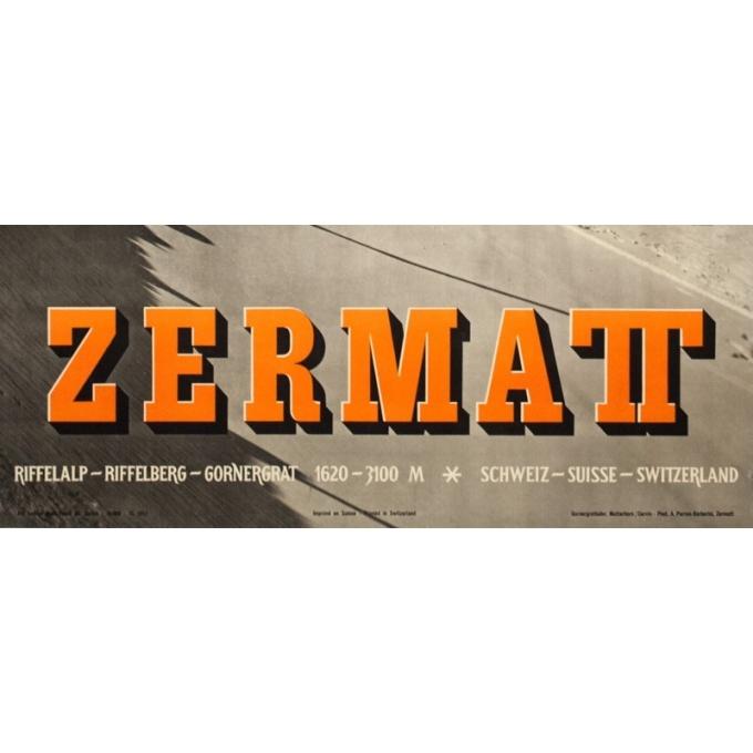 Affiche ancienne de voyage - Anonyme  - 1953 - Zermatt - 102 par 64 cm - Vue 2