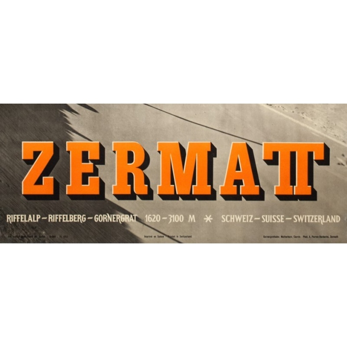 Vintage travel poster - Anonyme  - 1953 - Zermatt - 40.2 by 25.2 inches - View 2