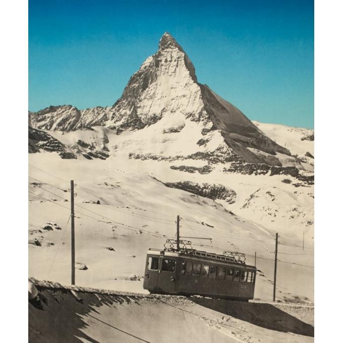 Affiche ancienne de voyage - Anonyme  - 1953 - Zermatt - 102 par 64 cm - Vue 3