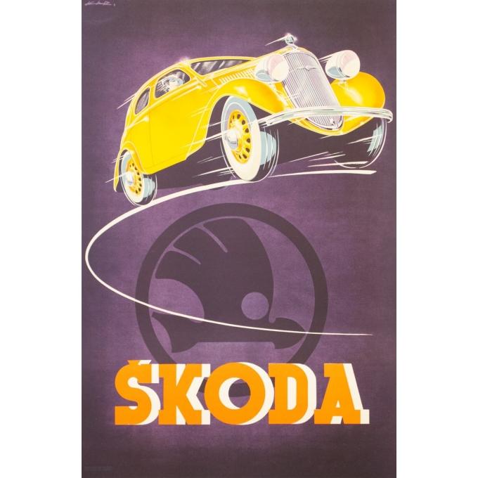 Affiche ancienne de publicité - Kar - 1930 - Skoda - 93 par 61.5 cm