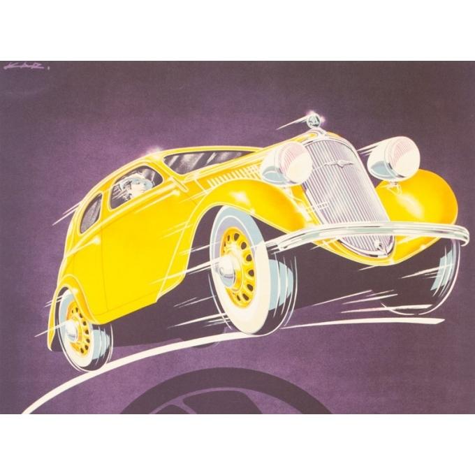 Affiche ancienne de publicité - Kar - 1930 - Skoda - 93 par 61.5 cm - Vue 2
