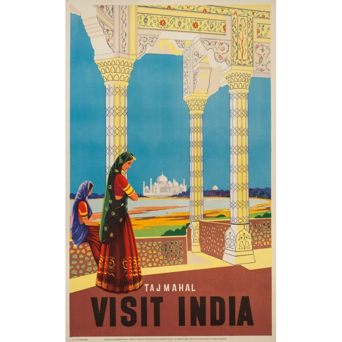 Vintage travel poster  - 1950 - Tajmahal Visit India - 40.2 by 24.8 inches
