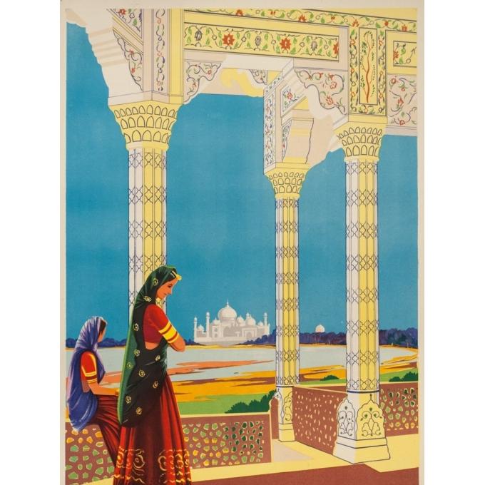 Affiche ancienne de voyage -  - Circa 1950 - Tajmahal Visit India - 102 par 63 cm - Vue 2