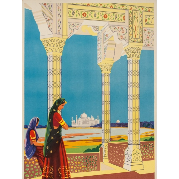 Vintage travel poster  - 1950 - Tajmahal Visit India - 40.2 by 24.8 inches - Vue 2