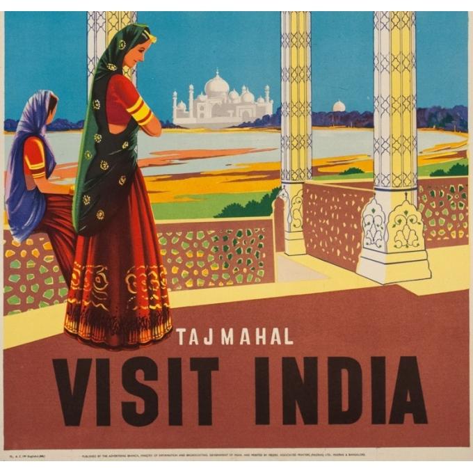 Affiche ancienne de voyage -  - Circa 1950 - Tajmahal Visit India - 102 par 63 cm - Vue 3