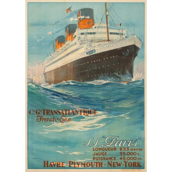 Affiche ancienne de voyage - Albert Sebille - 1930 - SS Paris French Line - 107 par 75 cm
