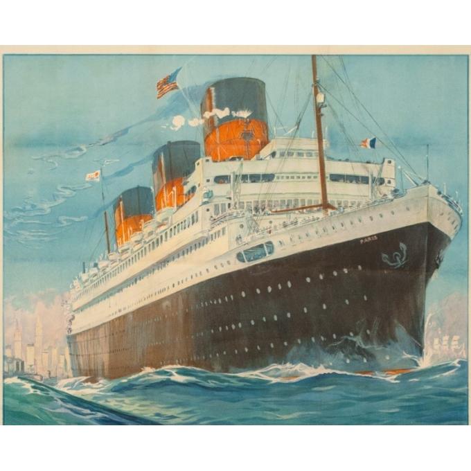 Affiche ancienne de voyage - Albert Sebille - 1930 - SS Paris French Line - 107 par 75 cm - Vue 2