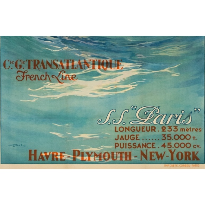 Affiche ancienne de voyage - Albert Sebille - 1930 - SS Paris French Line - 107 par 75 cm - Vue 3