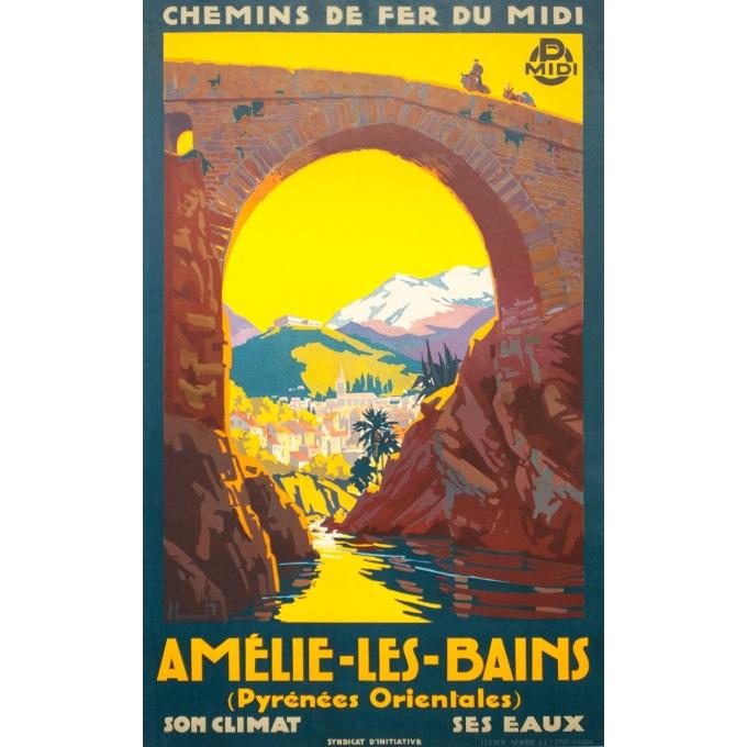 Affiche ancienne de voyage - Pierre Comarmont  - 1930 - Amélie les bains - 100 par 62 cm