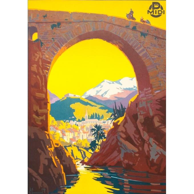 Affiche ancienne de voyage - Pierre Comarmont  - 1930 - Amélie les bains - 100 par 62 cm - Vue 3