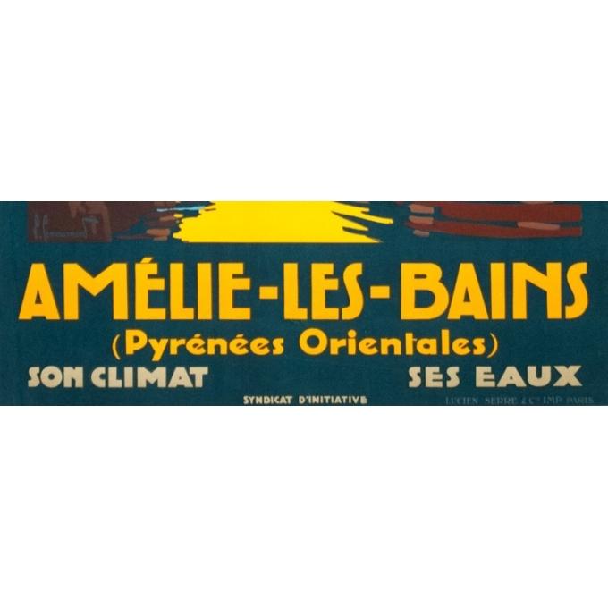 Affiche ancienne de voyage - Pierre Comarmont  - 1930 - Amélie les bains - 100 par 62 cm - Vue 4