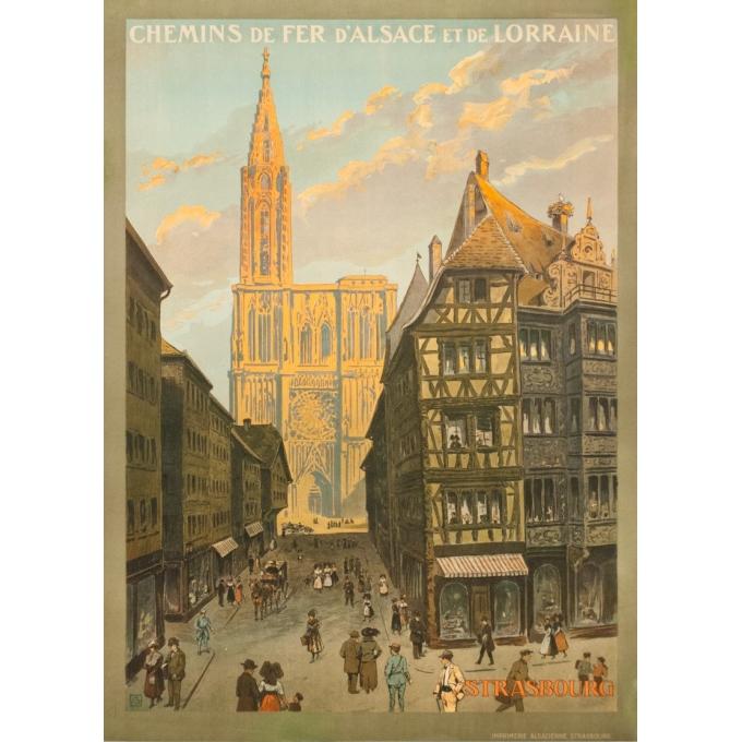 Affiche ancienne de voyage - Monograme G - 1920 - Strasbourg-rue Mercier  - 105 par 76 cm