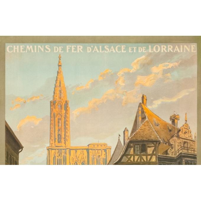 Affiche ancienne de voyage - Monograme G - 1920 - Strasbourg-rue Mercier  - 105 par 76 cm - Vue 2