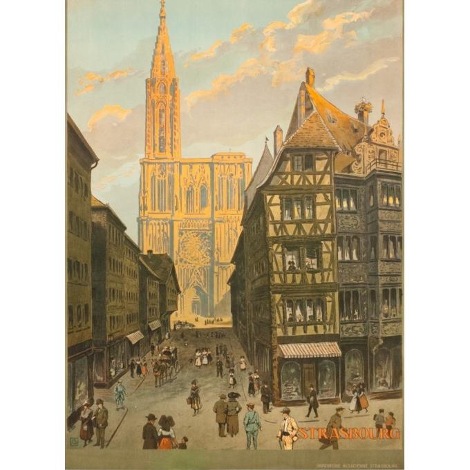 Affiche ancienne de voyage - Monograme G - 1920 - Strasbourg-rue Mercier  - 105 par 76 cm - Vue 3