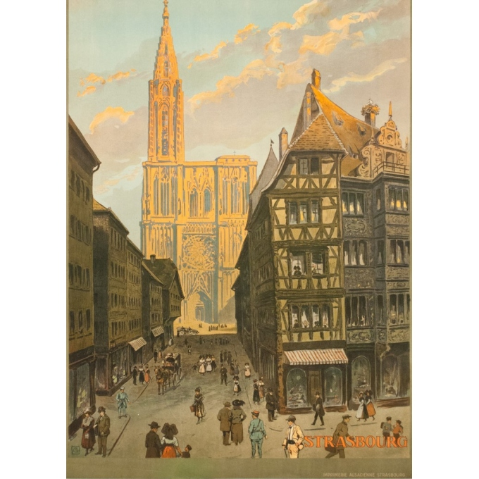 Vintage travel poster - Monograme G - 1920 - Strasbourg rue Mercier  - 41.3 by 29.9 inches - View 3