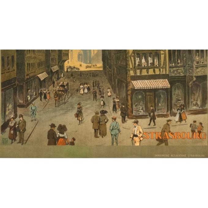 Affiche ancienne de voyage - Monograme G - 1920 - Strasbourg-rue Mercier  - 105 par 76 cm - Vue 4