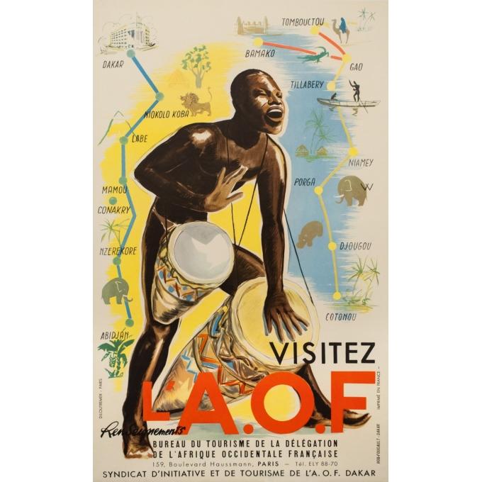 Affiche ancienne de voyage - anonyme -1950- Visitez l'Afrique occidentale française  - 99 par 61 cm