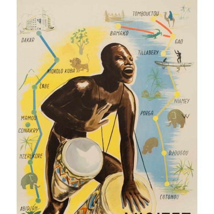 Affiche ancienne de voyage - anonyme -1950- Visitez l'Afrique occidentale française  - 99 par 61 cm - Vue 2