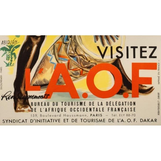 Affiche ancienne de voyage - anonyme -1950- Visitez l'Afrique occidentale française  - 99 par 61 cm - Vue 3