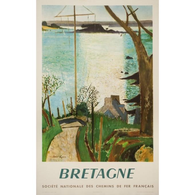 Affiche ancienne de voyage - René Jenis  - 1957- Bretagne- SNCF - 100 par 63 cm