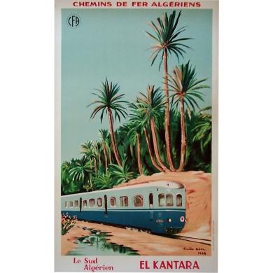 affiche El Kantara le sud algériens chemins de fer algériens